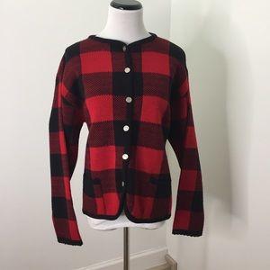 Vintage Tally-Ho Buffalo Plaid Cardigan Sweater